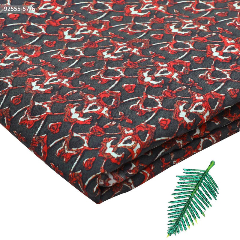 FFAB Fabric Collection | Digital Print on Modal Satin Fabric | Red-Dark Green Color