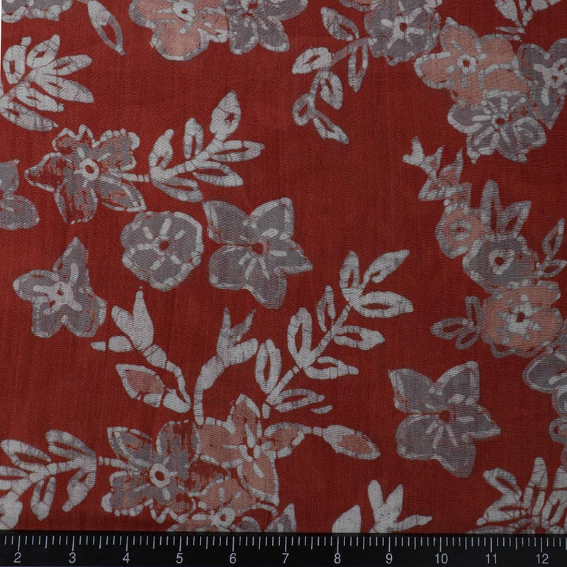 FFAB Fabric Collection | Digital Print on Tussar Chanderi Fabric | Rust Color