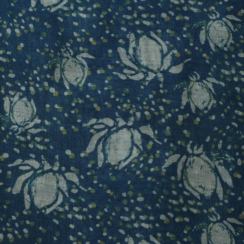 FFAB Fabric Collection | Digital Print on Muga Silk Fabric | Blue Color