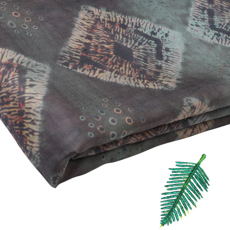 FFAB Fabric Collection | Digital Print on Silk Fabric | Green Color