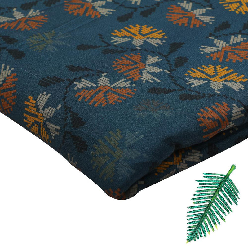 FFAB Fabric Collection | Digital Printed Viscose Modal Satin Fabric | Spruce Blue Color