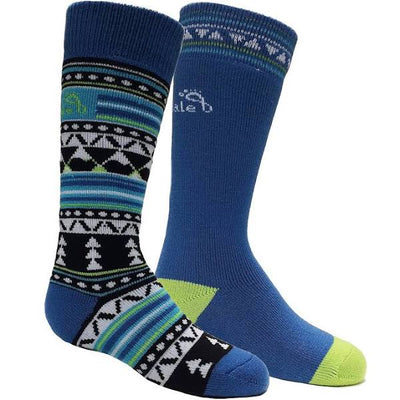 Kids' Merino Ski Socks, 2 pack-BKBL