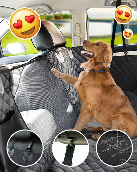 CAR BACK SEAT COVER FOR DOGS showing a golden Lab