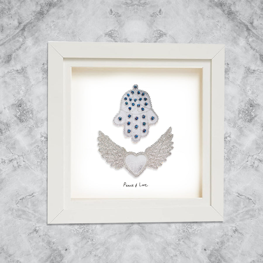 Hamsa & Winged Angel Heart with Peace & Love hand writing on White