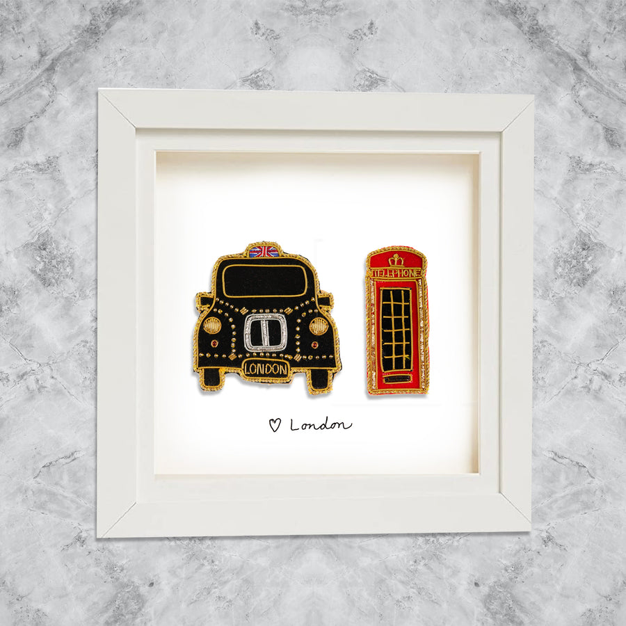 Framed London Cab and telephone box on White