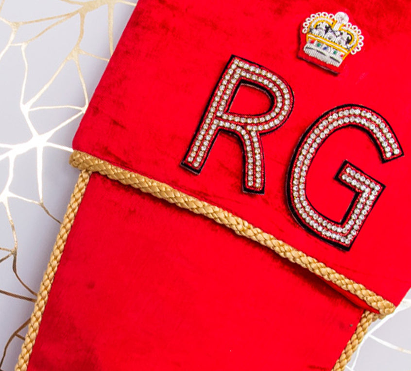 Personalised Stockings with Two Hand Embroidered Crystal Alphabet Letters and military crown