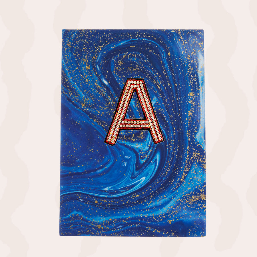 A5 Blue & Gold Swirl Journal Personalised with One Hand Embroidered Crystal Alphabet Letter