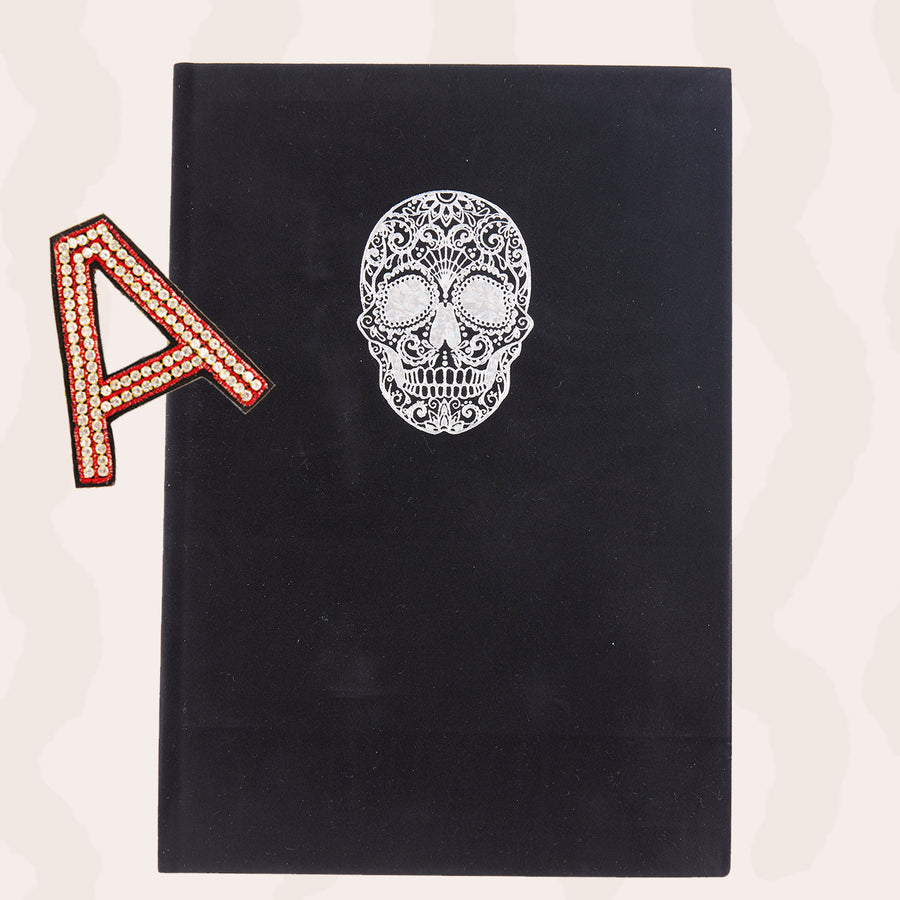 Personalised A5 Black Journal with Skull & One Hand Embroidered Crystal Alphabet Letter