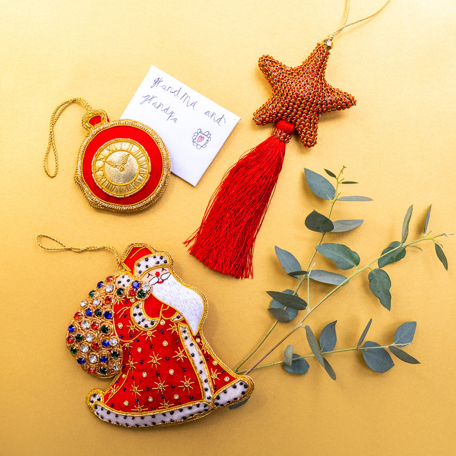 Set of Three Decorations: Royal Father Christmas, glitter Star with tassel & red pocket watch