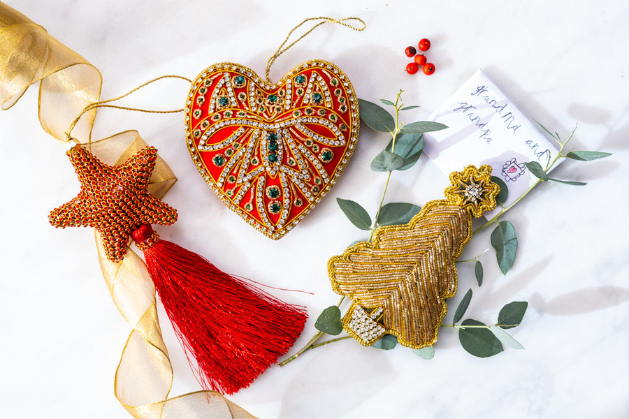 Set of Three Decorations: Velvet heart, golden sparkle tree and crystal star.