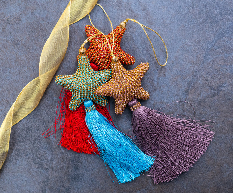 Set of Three Decorations: Super sparkly coloured crystal style Stars with luxury tassels