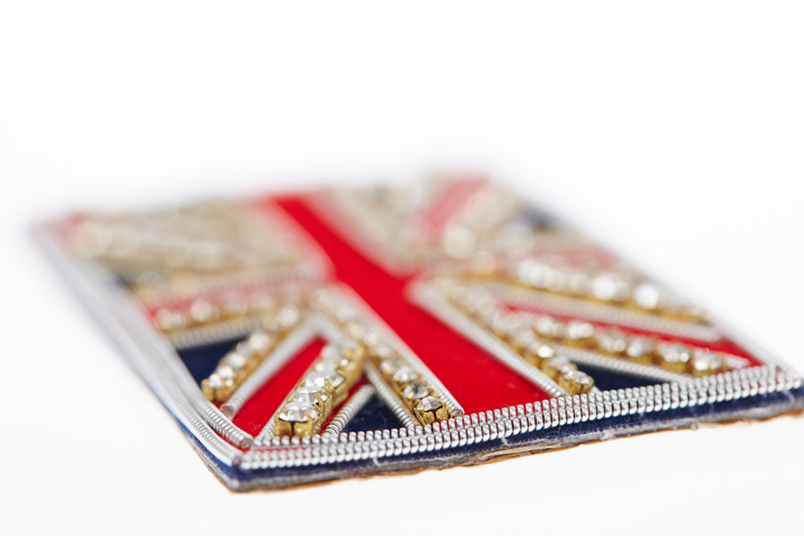 Navy & silver Union Jack flag with silver trim military crown and ♥ London  on White