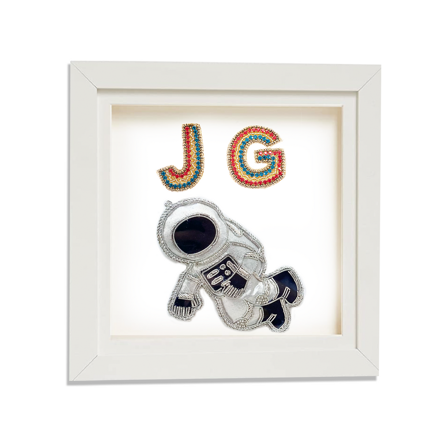 Astronaut with two Personalised embroidered letters Framed Art