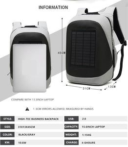 Solar Charging Backpack Men Businessmen laptop bag High-tec Back Packs Anti-theft Superior Pack Super cool different distinctive - ZainO