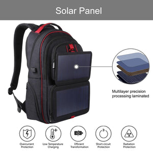 14W Foldable Solar Power Outdoor Portable Canvas Dual Shoulders Laptop Backpack, USB Output: 5V 2.1A Max( - ZainO