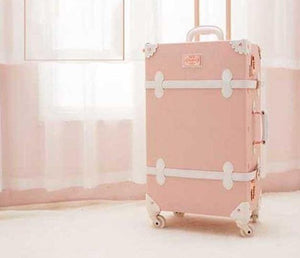 Retro PU Leather Rolling Luggage Sets Spinner Vintage Women Suitcase Wheel Trolley Women's Handbag Travel Bag - ZainO