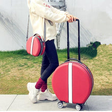 Load image into Gallery viewer, Women Rolling Suitcase with Cosmetic case,Round ABS+PC Travel Luggage Bag ,Universal wheel trip Trolley Box and Handbag - ZainO