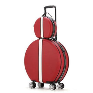 Women Rolling Suitcase with Cosmetic case,Round ABS+PC Travel Luggage Bag ,Universal wheel trip Trolley Box and Handbag - ZainO
