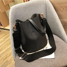 Load image into Gallery viewer, Messenger bag Women Bucket Shoulder Bag large capacity vintage Matte PU Leather lady handbag Luxury Designer bolsos mujer Black - ZainO