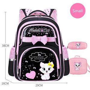 School Bag Fashion Cute Girls With Cute Cat Orthopedic  Waterproof Backpack - ZainO