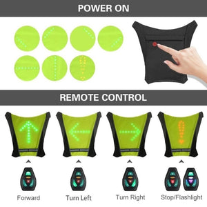 LED Wireless cycling vest 20L MTB bike bag Safety LED Turn Signal Light Vest Bicycle Reflective Warning Vests with remo - ZainO