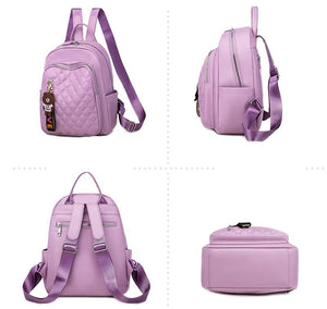 Soft PU leather ladies backpack new youth female schoolbag trend multifunctional travel bag luxury designer ladies - ZainO