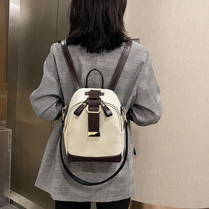 Ladies stitching backpack soft leather youth girl school bag new luxury designer ladies multi-function travel bag 4 colors - ZainO