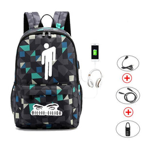 Backpack USB Charging Daypack Hip Hop Style Outdoor Travel Shoulders Bag Laptop Sport - ZainO