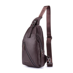 Men's Leather Chest Bag Shoulder Bag Top Layer Cowhide Business Messenger Bag Male Large Capacity - ZainO