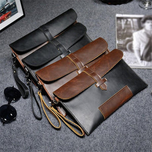 Men PU Leather Business Work Handbag Solid Color Envelope Bag Briefcase - ZainO