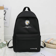 Load image into Gallery viewer, School Backpack For Teenage College Wind School Bag Nylon Daisy Printing High Student Bag Black - ZainO