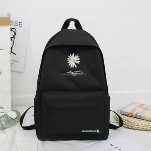 School Backpack For Teenage College Wind School Bag Nylon Daisy Printing High Student Bag Black - ZainO