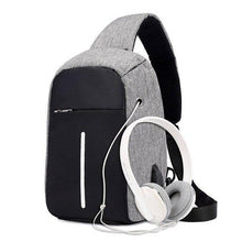Load image into Gallery viewer, Single Shoulder Backpack Anti-theft Backpack Men's Burglar USB Charging Crossbody Bag Men&Female Stealth Zipper Bag - ZainO