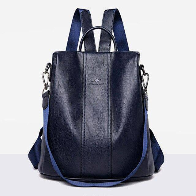Women's Bag Leather New Fashion Backpack Outdoor Large Capacity Bag Single Shoulder Bag Student Backpack Anti Theft Travel Bag - ZainO