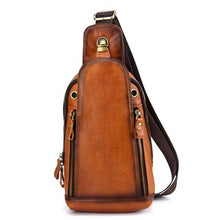 Load image into Gallery viewer, High Quality Men Genuine Leather Single Backpack Rucksack Vintage Real Cowhide Brush Color Shoulder Bag Crossbody Chest Bags - ZainO
