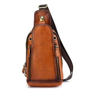 High Quality Men Genuine Leather Single Backpack Rucksack Vintage Real Cowhide Brush Color Shoulder Bag Crossbody Chest Bags - ZainO
