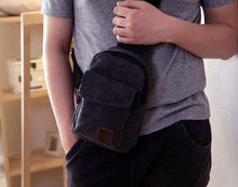 Load image into Gallery viewer, fashion Men's Small Chest Sling Bag Travel Hiking Cross Body Messenger Shoulder Backpack Solid Men Canvas Bag - ZainO