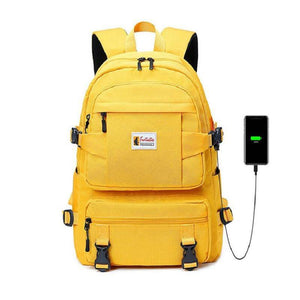 Yellow backpack children school bags for girls waterproof oxford large school backpack for teenagers schoolbag - ZainO