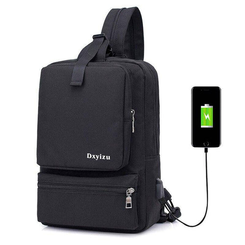 New Large Capacity Chest Pack USB Charging Multi-Function Dual-Use Shoulder Bag Business Single Shoulder Slung Leisure Travel Ba - ZainO