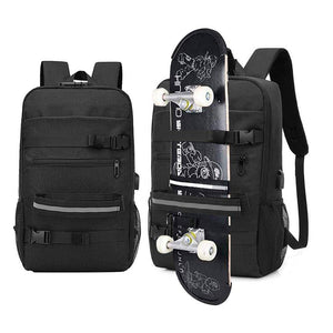 Skateboard Backpack Bag Anti-theft Password Lock USB Charging Shoulder Bag Men Women Leisure Travel  Computer Bag Longboard Bag - ZainO