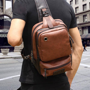 Vintage PU Leather Men Chest Backbag Casual Fashion Male Messenger Bags Back Pack Crossbody Bags Small Sling Single Shoulder Bag - ZainO