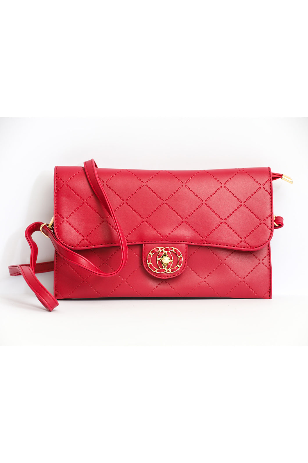 Strapped Embellished Clutch - Red