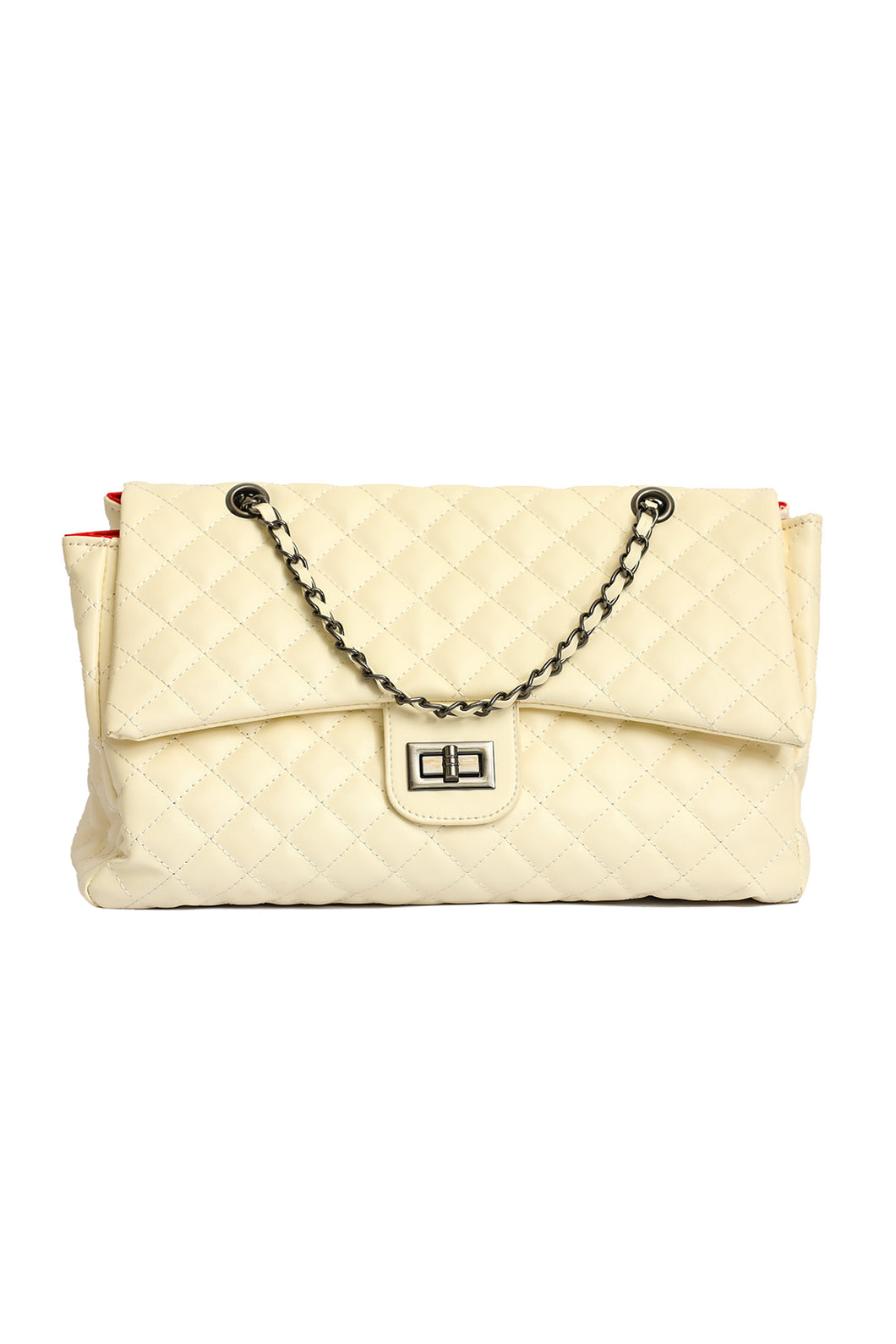 Quilted Chain Bag - Cream