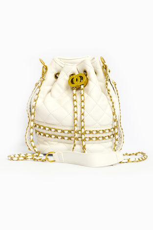 Draw String Bucket Bag - White