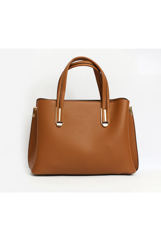 Double Handle Handbag - Brown