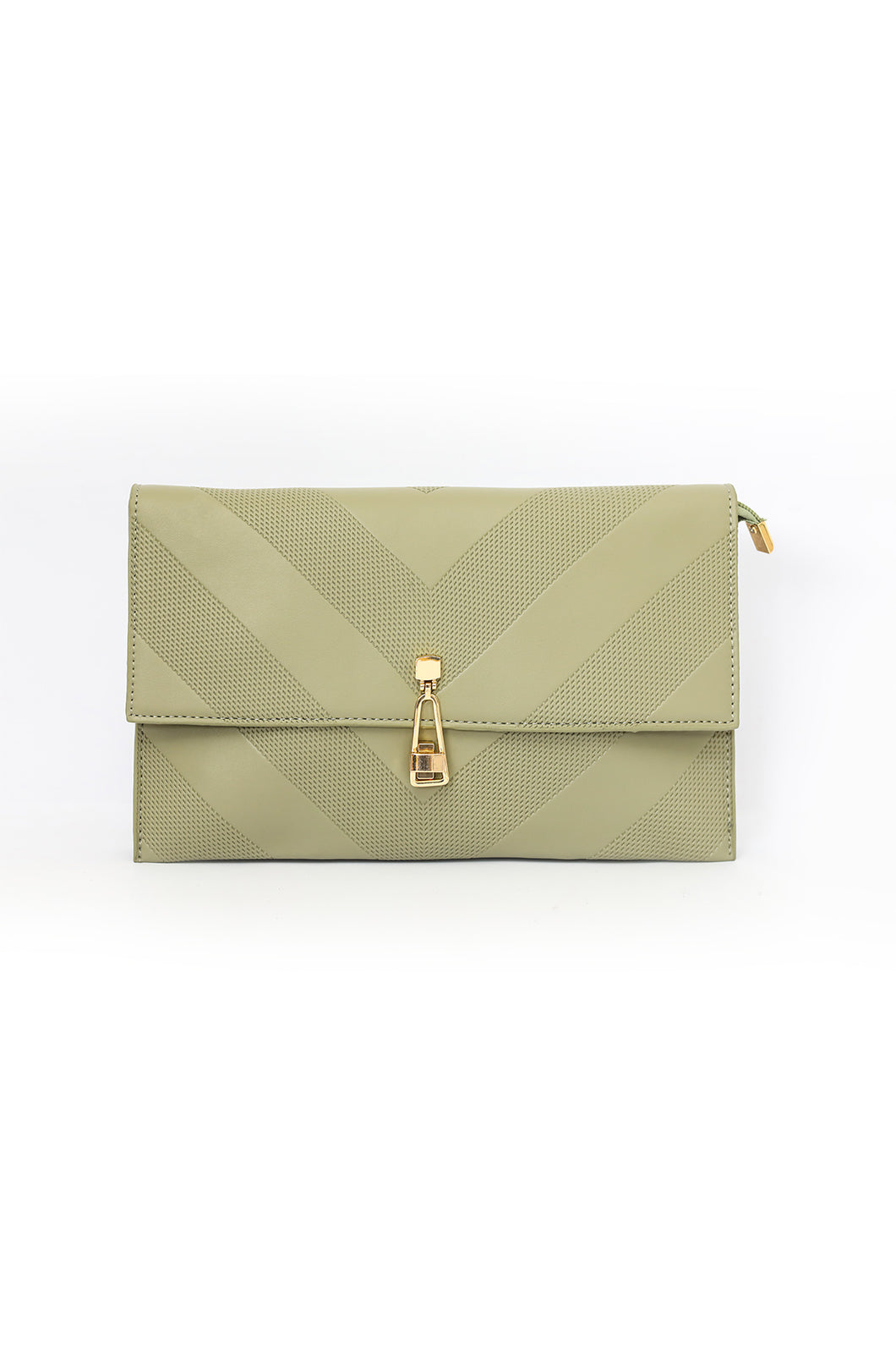 Strapped Textured Clutch - Light Green