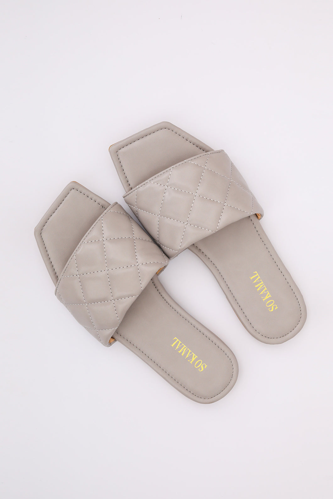 Square Toed Flats - Grey