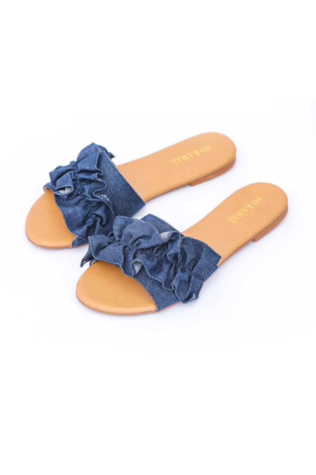 Denim Ruffled Flats - Dark Blue