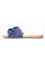 Load image into Gallery viewer, Denim Ruffled Flats - Dark Blue