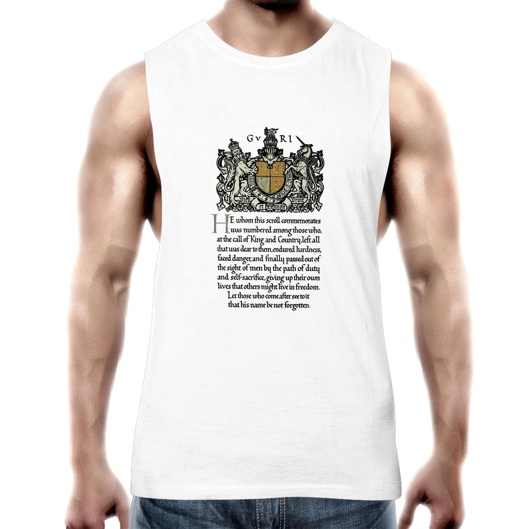 ANZAC Scroll Mens Tank Top Tee